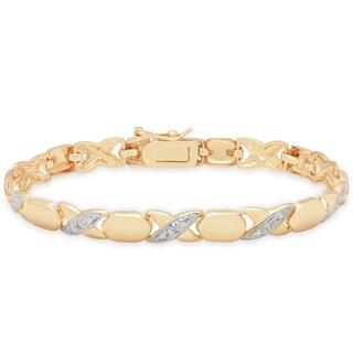 Finesque Yellow 14k Gold Overlay Diamond Accent 'XOXO' Bracelet