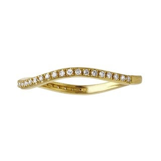 Beverly Hills Charm 14k Gold 1/6ct TDW Stackable Curved Diamond Band Ring