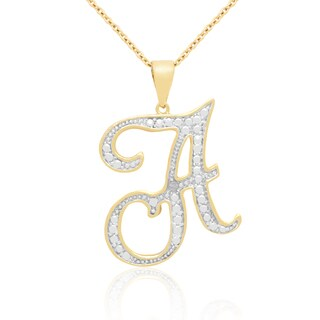 14k Gold Overlay Diamond Accent Initial Pendant Necklace (More options available)