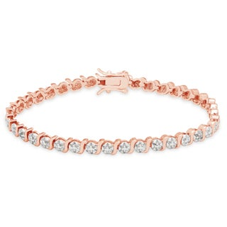 Finesque Sterling Silver Diamond Accent S-link Tennis Bracelet (Option: Gold Plated - Two-Tone)