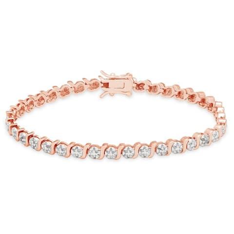 Finesque Sterling Silver Diamond Accent S-link Tennis Bracelet