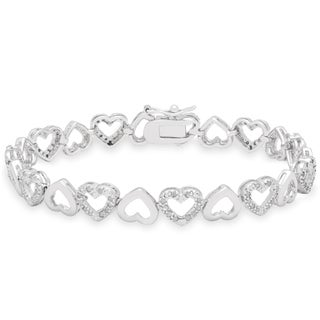Finesque Sterling Silver 1ct TDW Heart Link Bracelet