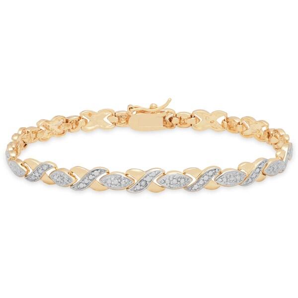 Xoxo Gold Bracelet: Shop Finesque 18K Gold Overlay Diamond Accent XOXO