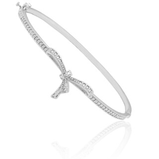 Finesque Sterling Silver Diamond Accent Bow Knot Bangle