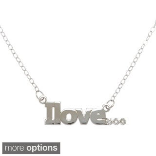 "Amanda Marmer Sterling Silver Inspirational Words ""I love"" Diamond Accent Necklace"
