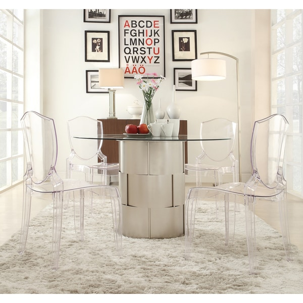 Awesome Elbridge 5 Piece Woven Drum Crystal Clear Dining Set By INSPIRE Q Bold