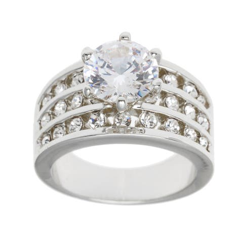 2.43ct TDW Silver/Gold Overlay Round Cut Bridal Inspired CZ Ring by Simon Frank Designs