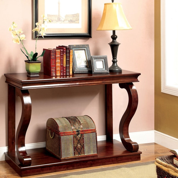Furniture Of America Prozy Cherry Clic Console Table On Free Shipping Today 8847068