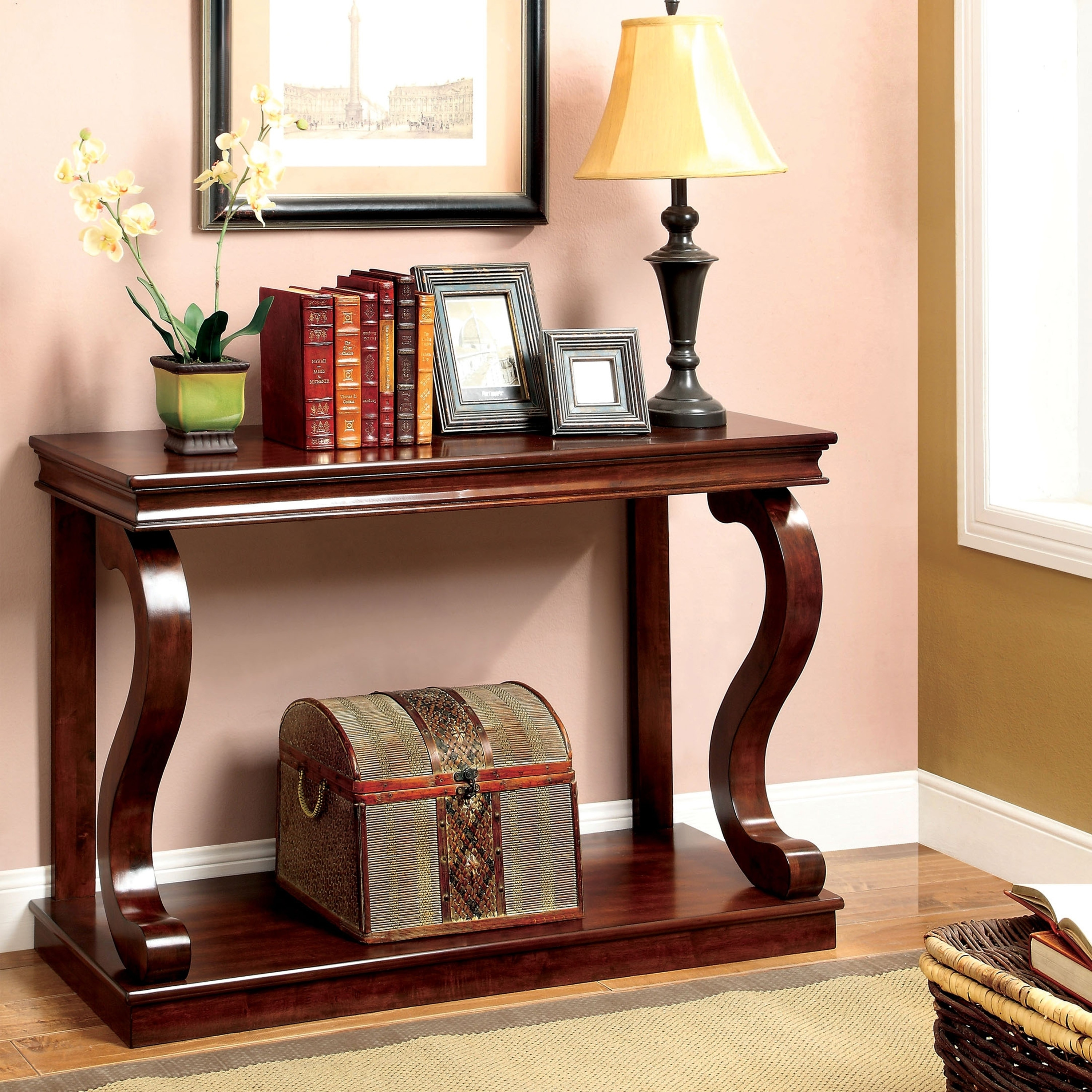Furniture of America Prozy Classic Cherry Console Table (...