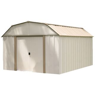 10 x 14 ft. Barn Style Taupe/ Eggshell Galvanized Steel Storage Shed