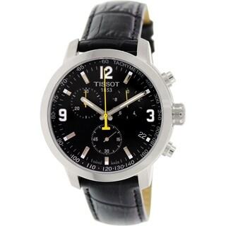 Tissot Men's 'PRC 200' Chronograph Black Leather Watch