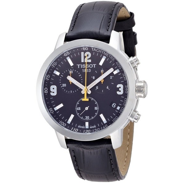 36b722b70dd Shop Tissot Men s T0554171605700  PRC 200  Chronograph Black Leather Watch  - Free Shipping Today - Overstock - 8847077
