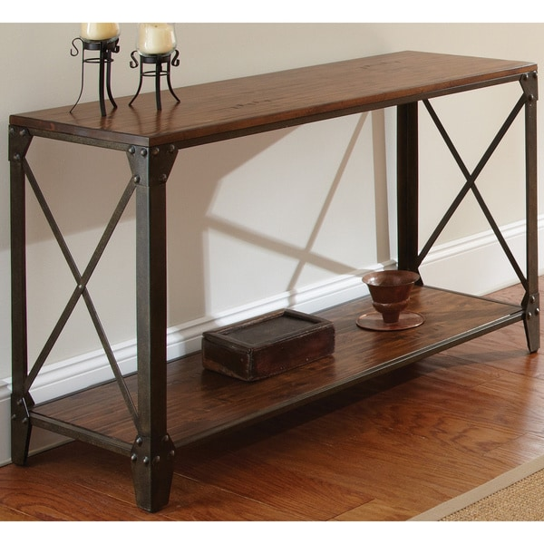 Rustic Sofa Tables For Sale: Shop Carbon Loft Fischer Solid Wood And Iron Rustic Sofa