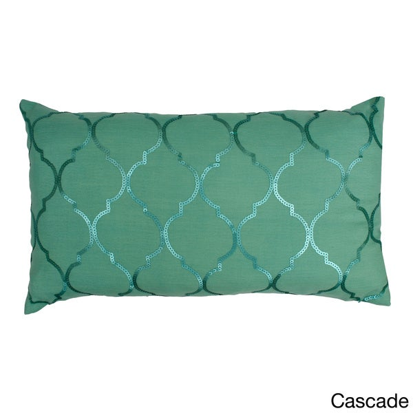 'Kimberly' Sequined Moroccan Pattern Throw Feather Fill Pillow (12 x 20 inches)