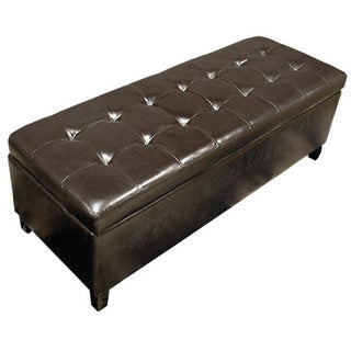 Warehouse of TIffany Faux Leather/Oak Wood Tufted Storage Bench