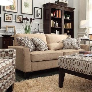 INSPIRE Q Fullerton Tan Linen Flared Track Arm Sofa