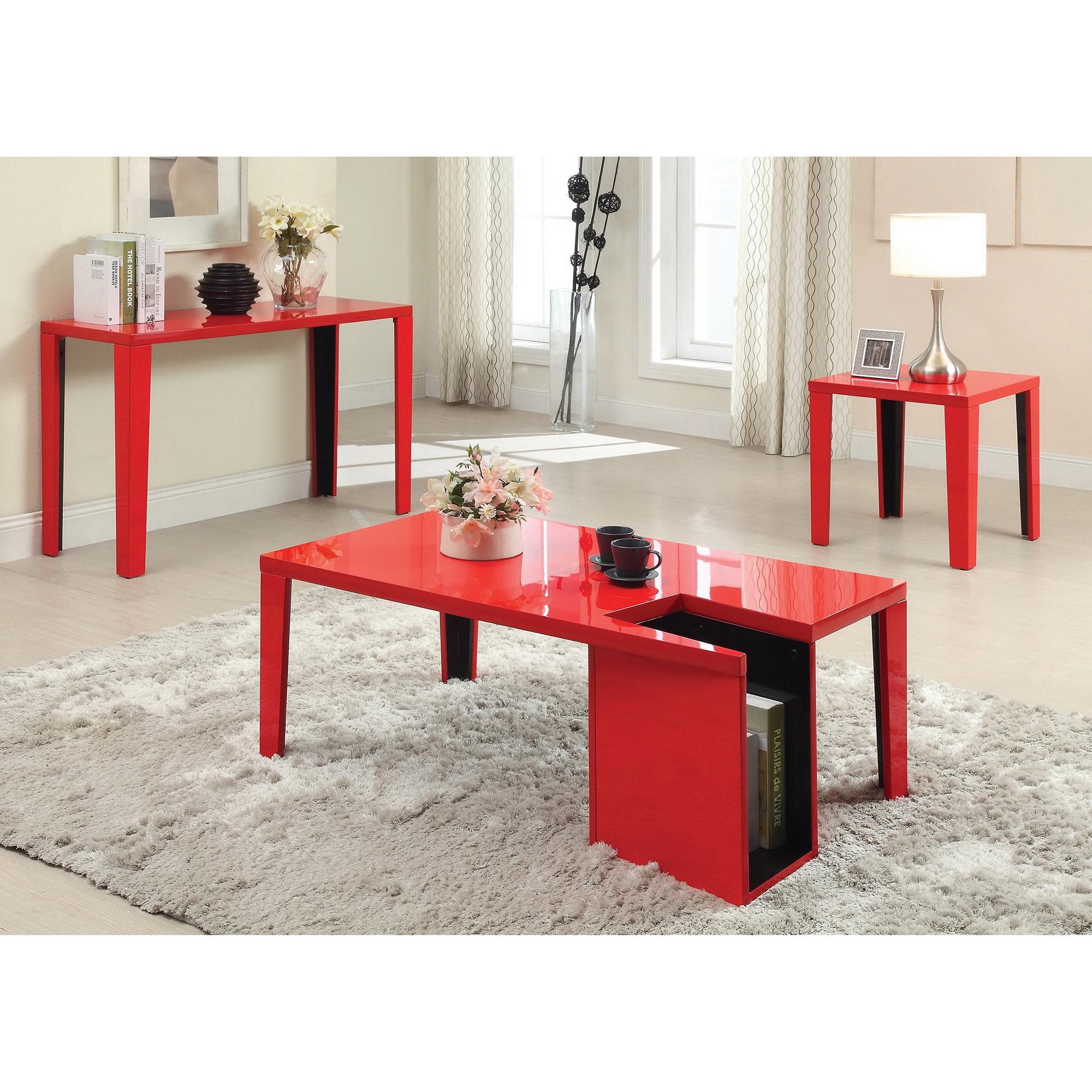 Lorzi Modern Black High Gloss Lacquer Sofa Table by FOA