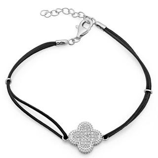 Sterling Essentials Sterling Silver Clover Leather Cord Bracelet with Bonus Bracelet