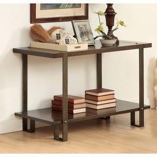 Furniture of America Tal Rustic Oak Solid Wood Sofa Table