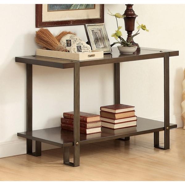 Furniture of america arbon rustic dark oak sofa table with for Furniture of america sofa table