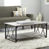 Reclaimed Style Grey Coffee Table with Double 'X' Frame