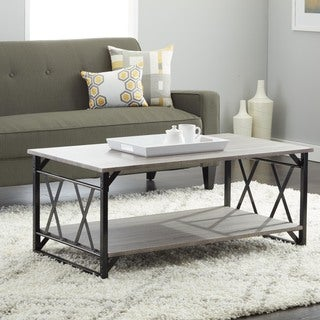 Reclaimed Style Grey Coffee Table with Double 'X' Frame - N/A