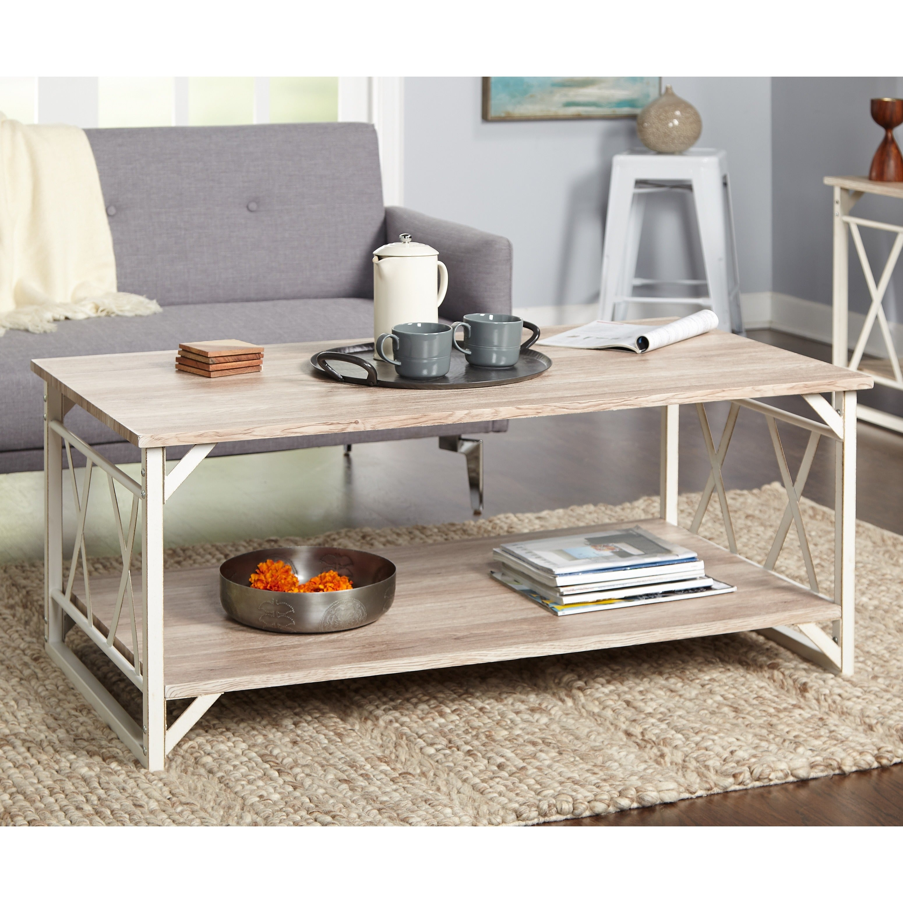 Reclaimed Style Grey Coffee Table With Double U0027Xu0027 Frame   N/A