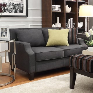 Broadway Dark Grey Fabric Sloped Track Loveseat by INSPIRE Q