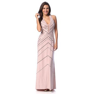 Ignite Women's Halter Lace Back Gown