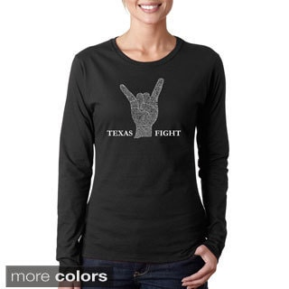 Los Angeles Pop Art Women's 'Texas Fight' Long Sleeve T-shirt