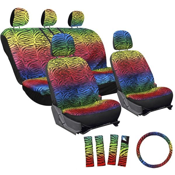 Shop Oxgord Zebra/ Tiger Strip Rainbow 17-piece Seat Cover