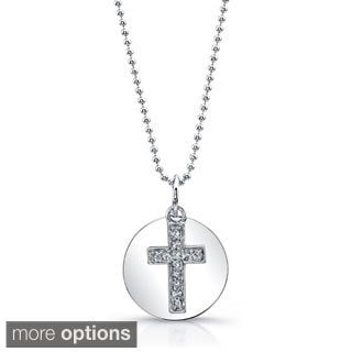 Victoria Kay 14k White Gold Diamond Accent Cross Disc Pendant Necklace with 16-inch Chain