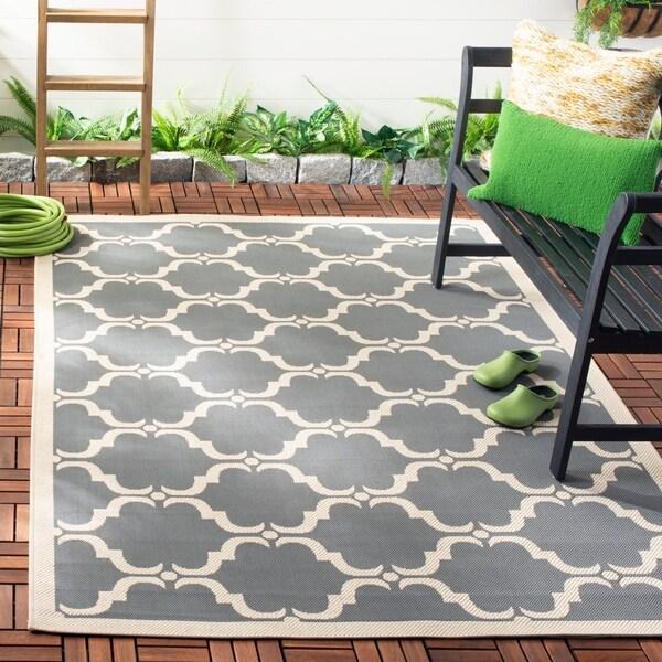 Safavieh Courtyard Moroccan Anthracite/ Beige Indoor/ Outdoor Rug - 8' x 11'