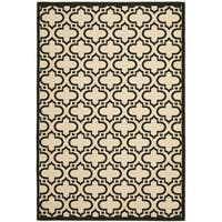 Safavieh Indoor/ Outdoor Courtyard Creme/ Black Rug - 7'10 x 10'