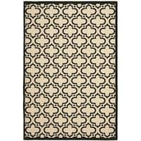 "Safavieh Indoor/ Outdoor Courtyard Creme/ Black Rug - 7'10"" x 10'"