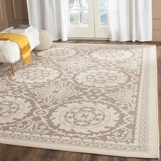 Safavieh Indoor/ Outdoor Courtyard Beige/ Dark Beige Rug (4' x 5'7)
