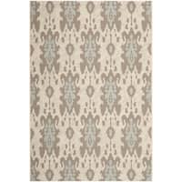Safavieh Indoor/ Outdoor Courtyard Beige Dark Beige/ Aqua Weft Rug - 4' x 5'7'