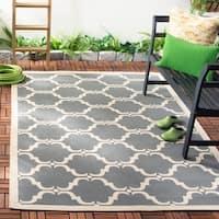 Safavieh Courtyard Moroccan Anthracite/ Beige Indoor/ Outdoor Rug - 4' x 5'7