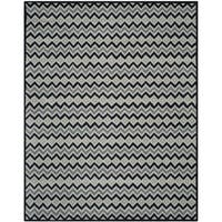 Isaac Mizrahi by Safavieh Handmade Black Cravat Grey/ Black Wool Rug - 8' x 10'
