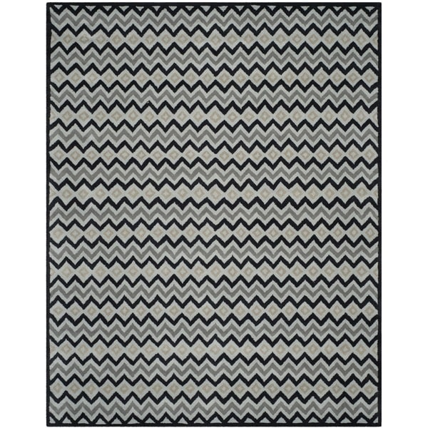 Isaac Mizrahi by Safavieh Handmade Black Cravat Grey/ Black Wool Rug - 8' x 10'