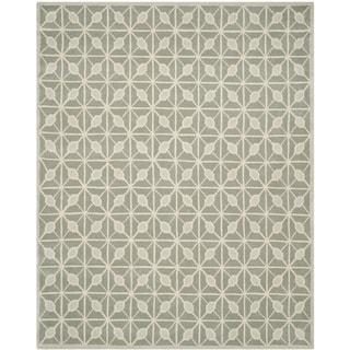 Isaac Mizrahi by Safavieh Handmade Fashion Grid Dark Grey/ Taupe Wool Rug (8' x 10')