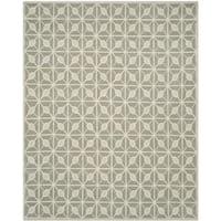 Isaac Mizrahi by Safavieh Handmade Fashion Grid Dark Grey/ Taupe Wool Rug - 8' x 10'