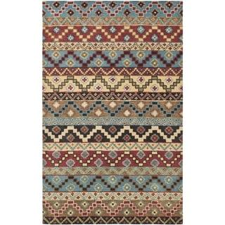 Isaac Mizrahi by Safavieh Handmade Calico Stripe Blue/ Multi Wool Rug (8' x 10')