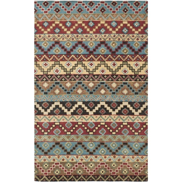 Isaac Mizrahi by Safavieh Handmade Calico Stripe Blue/ Multi Wool Rug - 8' x 10'