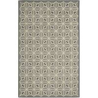 Isaac Mizrahi by Safavieh Handmade Fashion Grid Dark Grey/ Charcoal Wool Rug - 5' x 8'