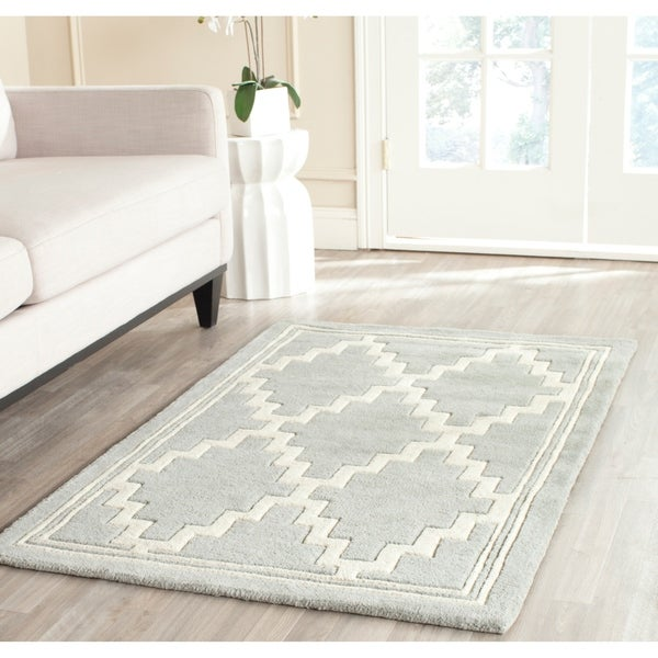 "Safavieh Handmade Moroccan Chatham Grey/ Ivory Wool Rug - 8'9"" x 12'"