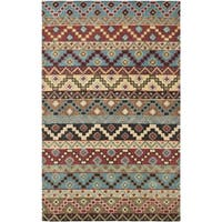 Isaac Mizrahi by Safavieh Handmade Calico Stripe Blue/ Multi Wool Rug - 5' x 8'