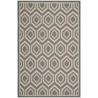 Safavieh Courtyard Honeycomb Anthracite/ Beige Indoor/ Outdoor Rug - 9' x 12'