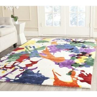 Isaac Mizrahi by Safavieh Handmade White Splatter Wool Rug (5' x 8')
