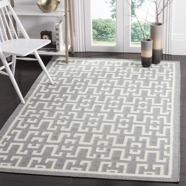 Safavieh Hand-woven Moroccan Reversible Dhurries Soft Grey/ Ivory Wool Rug - 9' x 12'